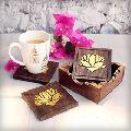 Wooden Tea Drink Coasters Holder