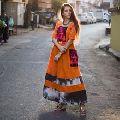 Long embroidered khadi linen women maxi dress