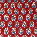 block printed fabric red colored