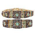 Mixed metal jewelry with emeralds diamonds studded victorian bracelet