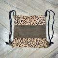 leather fur patchwork backpack bag