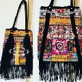 Mirror Work Shoulder Fringe Bag
