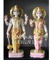White Marble Pair of Vishnu Laxmi in Standing Posture Statue