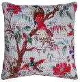 Indian Bird Printed Dazzling Cotton Cushion Cover
