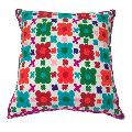 colorful hand embroidered cushion cover