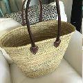 Monogram Basket Straw Bag