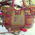 indian vintage banjara bags decoration with coins and pom pom work