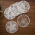 White Painted Mdf Wooden Laser Cut Coaster