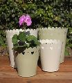 white finished out door garden planters