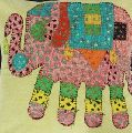 Elephant Zari Worked Traditional Cushion Cover