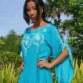Beachwear tunic Cut detail dip dyed hi-low style Women top