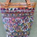 Leather Purse Embroidered Shoulder Bag