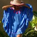 Rayon tye dye deep V-neck Mini Swim Dress