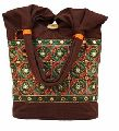 Tote Bag Silk Embroidery & Mirror Work Patch Canvas Shoulder Bag