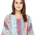 V-Neck Printed Multicolor Women Casual Top And Blouse