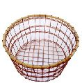 ROUND COPPER WIRE BAMBOO FRUIT VEGETABLE BASKET
