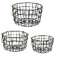 Round Wire Nesting Baskets Black With Copper Handles
