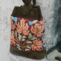 Real suede leather handmade embroidery sling bag for women
