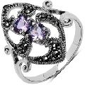 Amethyst and  Marcasite  Ring