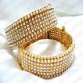Big Pearl Beaded Gold Plated Bangles