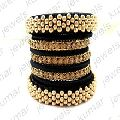 Crystal Stone Beaded Gold Plated Metal Chunky Bangles
