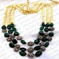 Green corundum Pearl Beaded Necklace