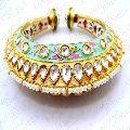 Handmade Kundan Stone Pearl Beaded Openable Bracelet