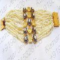Pearl Beaded CZ Kundan Stone Bracelet