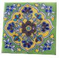 Rajasthani Handmade Floral Blue Pottery Tiles