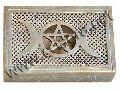 Natural Soapstone Pentagram Jewelry Box