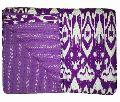 Handmade Ikat Print Kantha Quilt