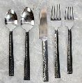 Stainless Steel Hammered Triangle Flatware 5 Pieces Cutlery Set