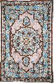 CHAINSTITCH TAPESTRY SILK RUG, PINK AND BLUE EMBROIDERY 2.5X4 FEET