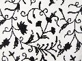 Cotton Crewel Embroidered Fabric Jacobean, Black on White