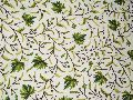 Cotton Crewel Embroidered Fabric Maple, Green on White