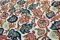 Cotton Crewel Embroidered Fabric Off-White, Multicolor
