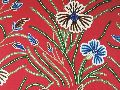 Cotton Crewel Embroidered Fabric Red, Multicolor