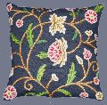 COTTON CREWEL PILLOW CUSHION COVER NAVY BLUE, MULTICOLOR