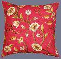 COTTON CREWEL PILLOW CUSHION COVER RED, MULTICOLOR