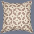 CREWEL WOOL EMBROIDERED CUSHION PILLOW COVER, BEIGE AND WHITE
