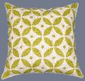 CREWEL WOOL EMBROIDERED CUSHION PILLOW COVER, GREEN AND WHITE