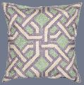 CREWEL WOOL EMBROIDERED CUSHION PILLOW COVER, GREEN AND PURPLE