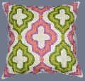 CREWEL WOOL EMBROIDERED CUSHION PILLOW COVER, PINK AND GREEN