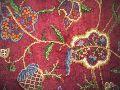 Silk Organza Crewel Embroidered Sheer Fabric Burgundy, Multicolor