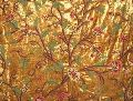 Velvet Crewel Embroidered Fabric Gold, Muticolor