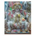 Gold Painted Seated Marble God Ganesha Statue