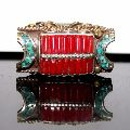 German Silver Coral and Turquoise Gemstone Gold Plated Ring