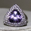 Solid 925 Sterling Silver Natural Amethyst Gemstone Triangle Shape Ring