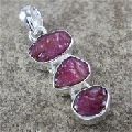 925 STERLING SILVER PENDANT ROUGH RUBY GEMSTONE JEWELRY