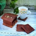 Carved Drink Coasters Rosewood Bar Tea Set